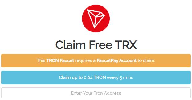 Cara mendapatkan faucet Tron (TRX) gratis setiap 5 menit