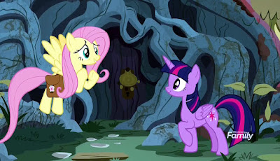 Fluttershy and Twilight outside Cattail's treehouse