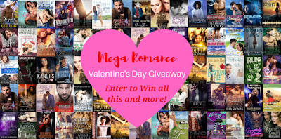 "Graphic with over 50 romance book covers, overlaid with a heart with text that reads, ""Mega Romance Valentine's Day Giveaway. Enter to win all this and more!"""