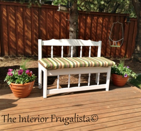 Twin Captain's Bed Turned Outdoor Bench With Cushion