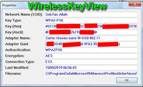 تطبيق لإظهار باسوورد الوايفاي App affiche le mot de passe WiFi (WEP/WPA) - WirelessKeyView