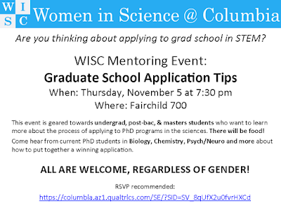 Opportunity: Women in Science @ Columbia Mentoring event -- applying to STEM Grad Schools