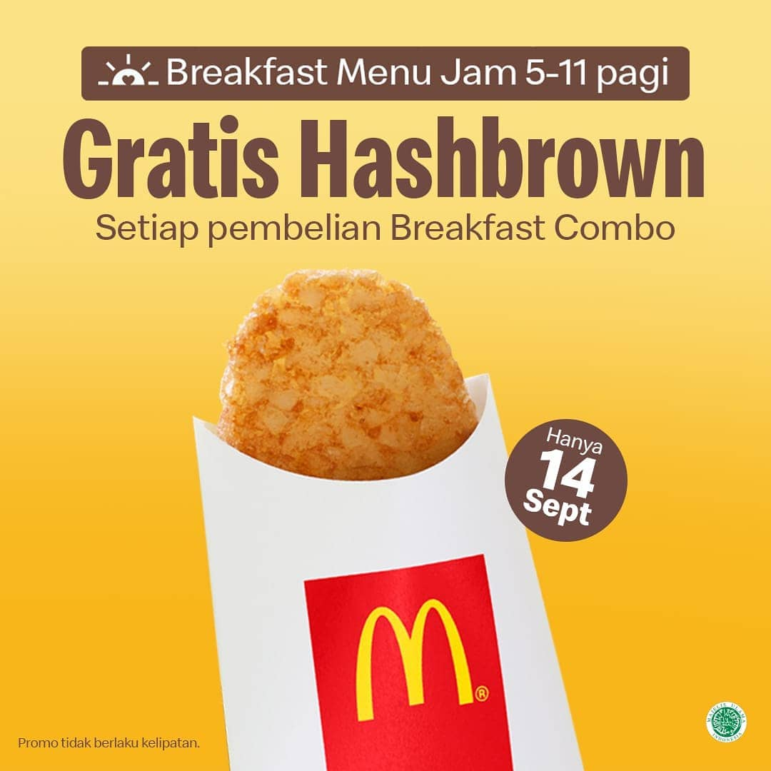 McDonalds Promo Breakfast Menu Combo Gratis HashBrown