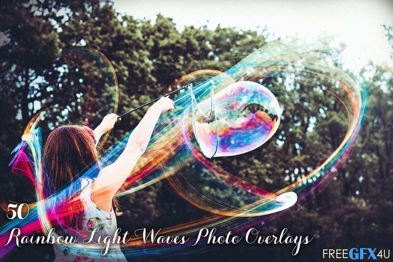50 Rainbow Light Waves Overlays