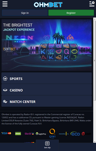 Ohmbet Casino Mobile Screen