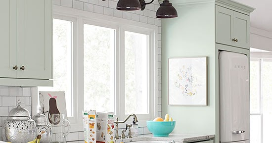 Dreaming about mint kitchen cabinets the wicker house for Better homes and gardens painting kitchen cabinets