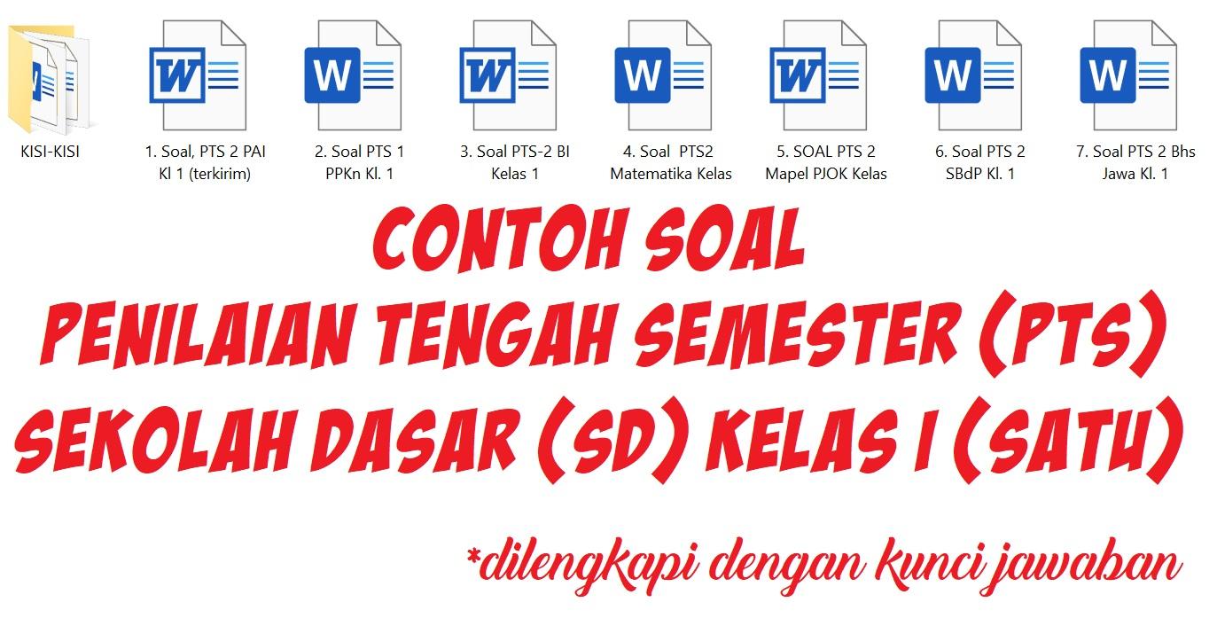 Contoh Soal Penilaian Tengah Semester (PTS) Sekolah Dasar (SD) Kelas I (Satu)