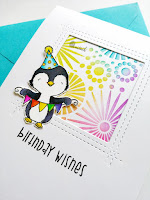 TO, Funky Fossil Designs, Mft stamps, stenciling, Birthday card, Quillish, Funky fossil Circle burst stencil, MFT stamps sweet celebrations stamp set, MFT penguin Stacey yacula