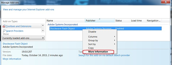 """Find the Adobe Shockwave Flash Object and select """"More information."""""""