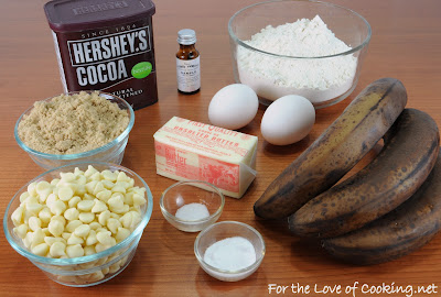 Chocolate, Banana, and White Chocolate Chip Muffins