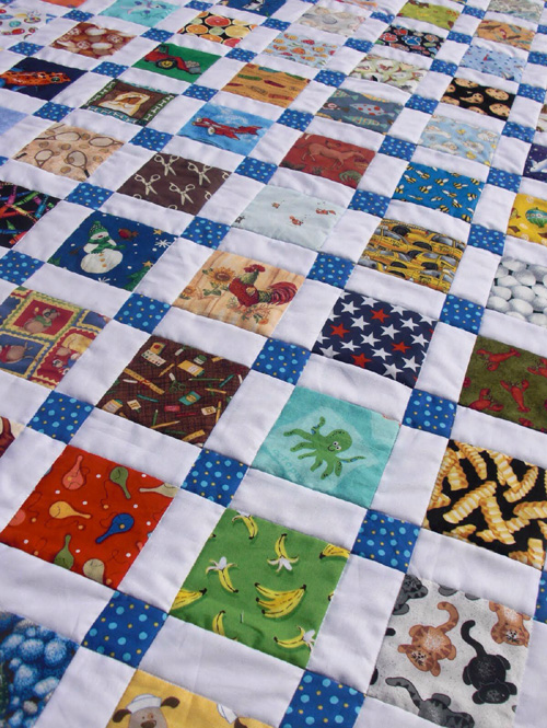 Disappearing Nine-Patch Quilt ( I-Spy version) - Tutorial