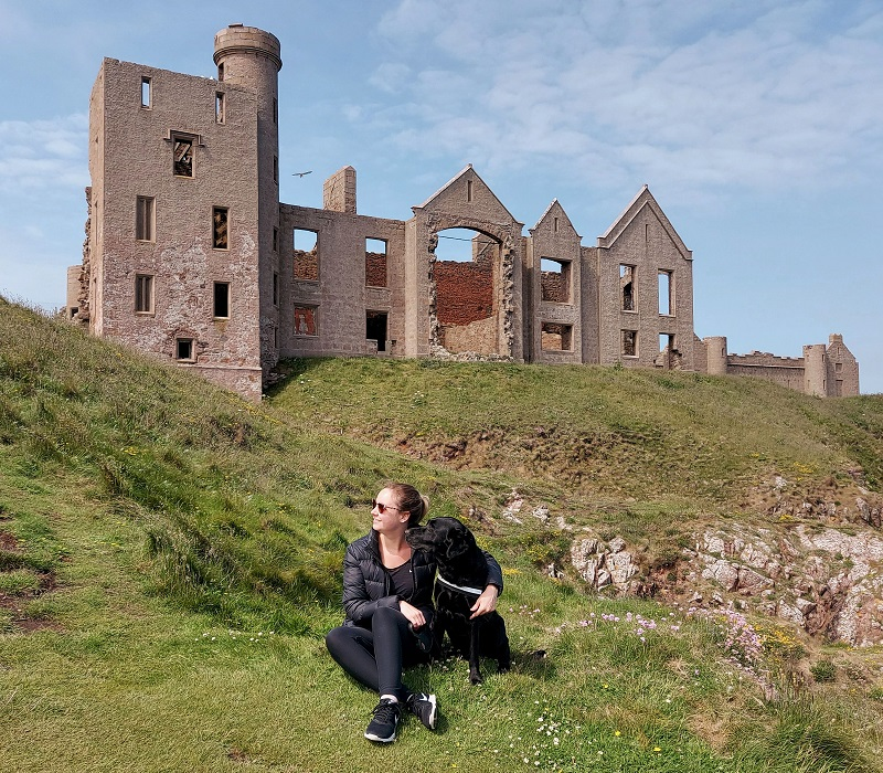 Harley and I on the cliffs in front of New Slains Castle
