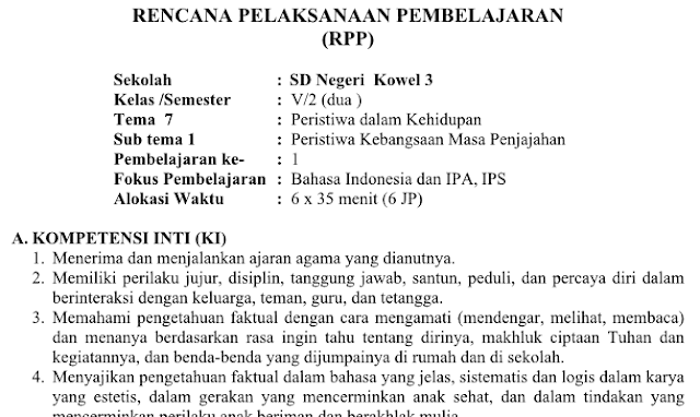 Rpp Kelas 5 Tema 7 Kurikulum 2013 Revisi 2018 Materiku