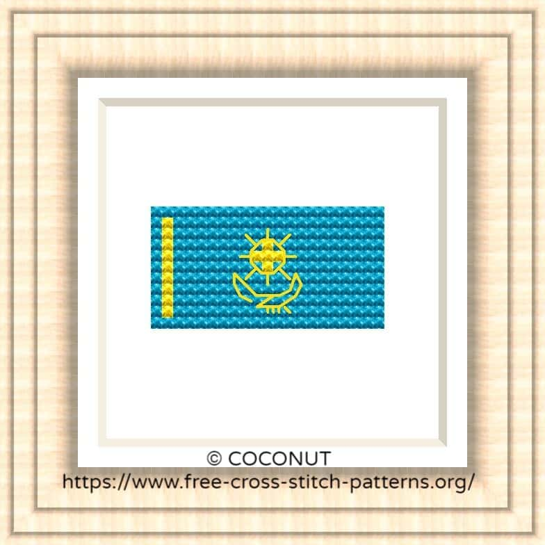 NATIONAL FLAG OF KAZAKHSTAN CROSS STITCH CHART