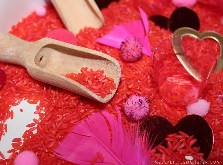 valentine sensory bin