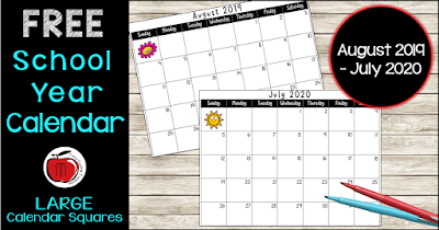 Free School Year Calendar 2019-2020 Terri's Teaching Treasures