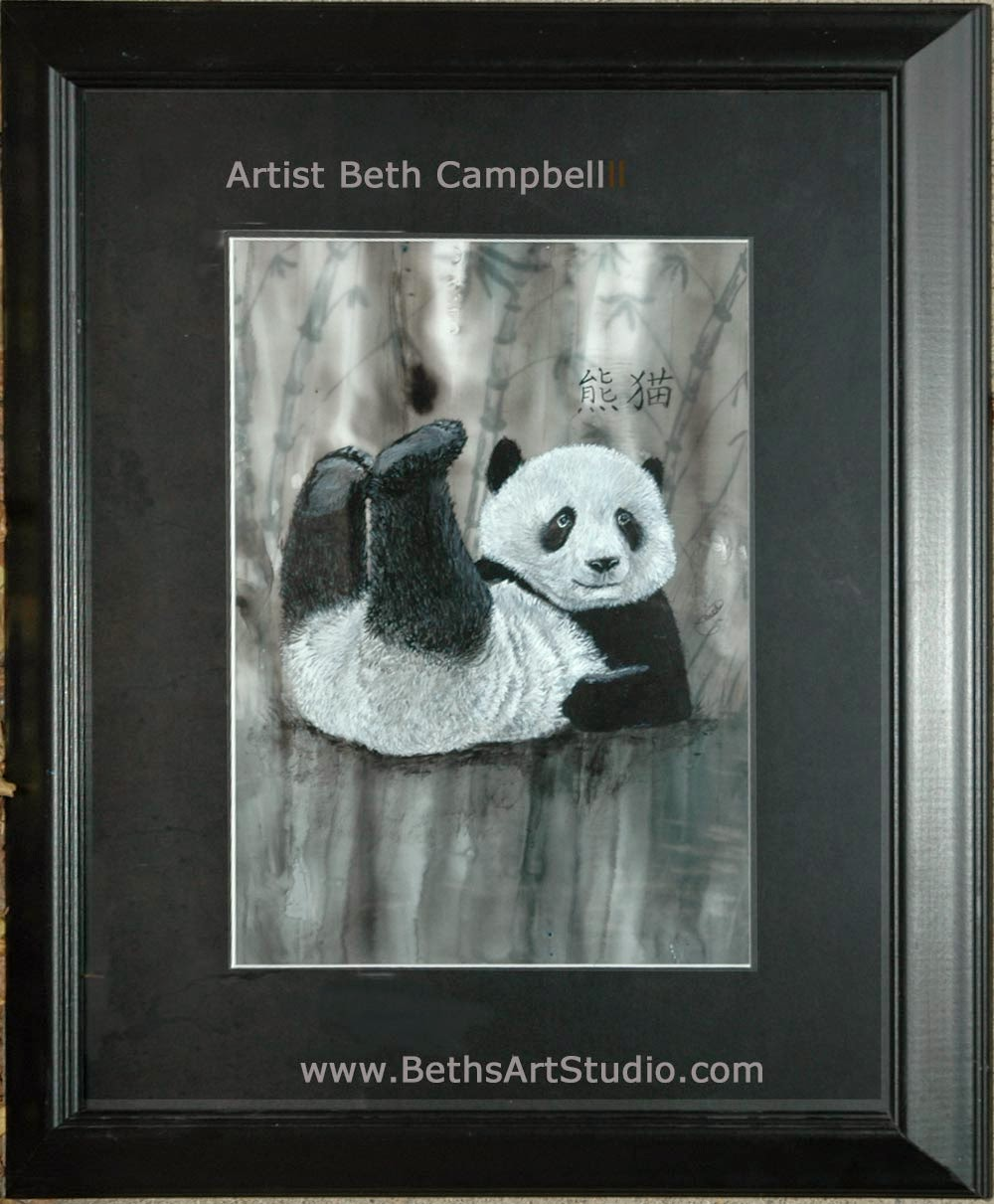 acrylic mixed media wildlife painting panda Beth Campbell