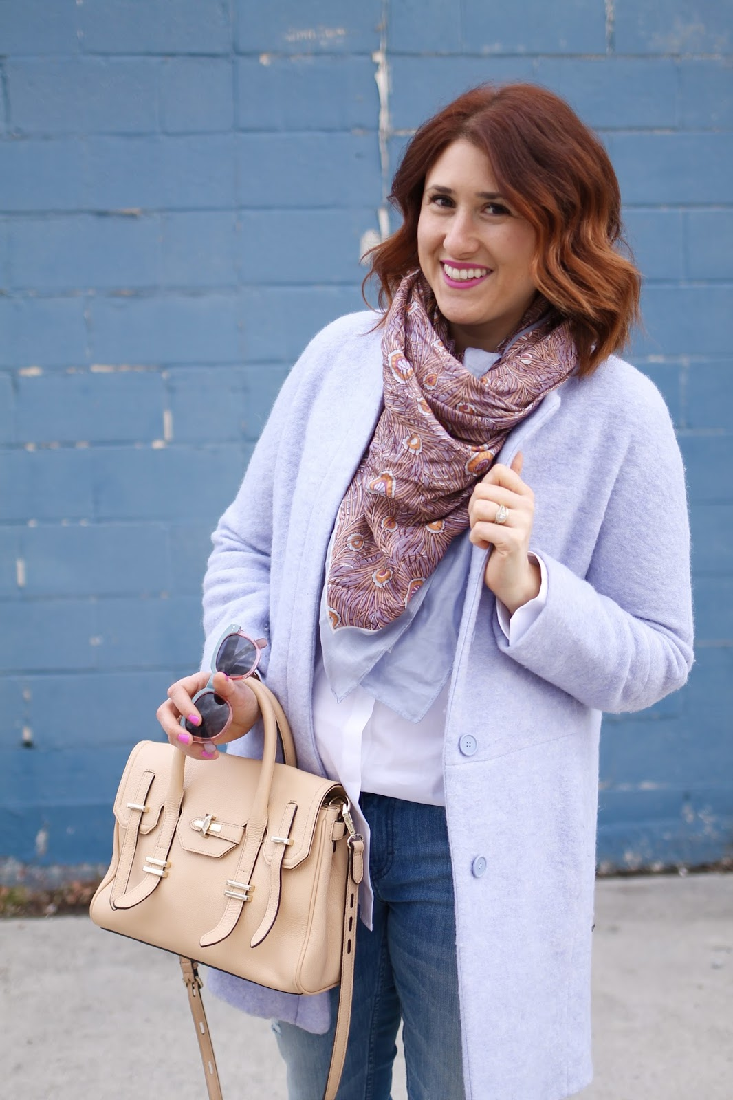 baby blue jacket, printed scarf, casual outfit, jules satchel, tan purse, leather purse, rebecca minkoff purse, red hairstyle, distressed jeans, blue heels, classic white button down shirt