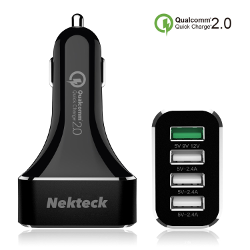 [Qualcomm Certified]Nekteck Quick Charge 2.0 54W 4 Ports USB Rapid Turbo Car Charger for Samsung Galaxy S6/ S6 Edge/ Edge+, Note 5/ 4/ Edge, Nexus 6 and More, Black(3.3FT Micro USB Cable included)