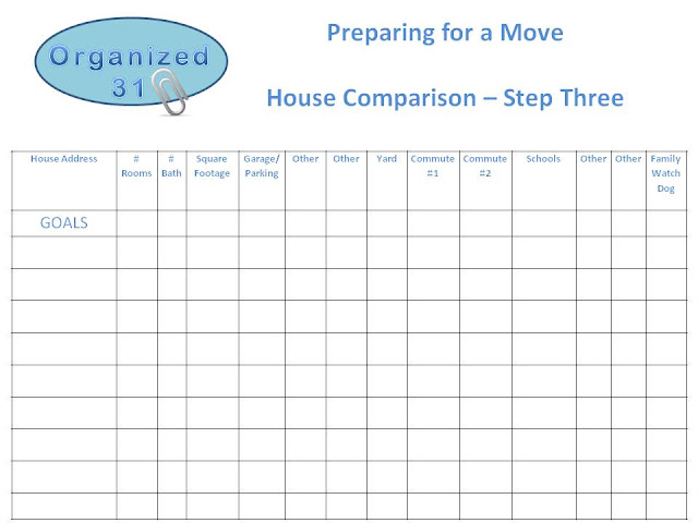 Organized 31 - Moving & Finding a House Checklist