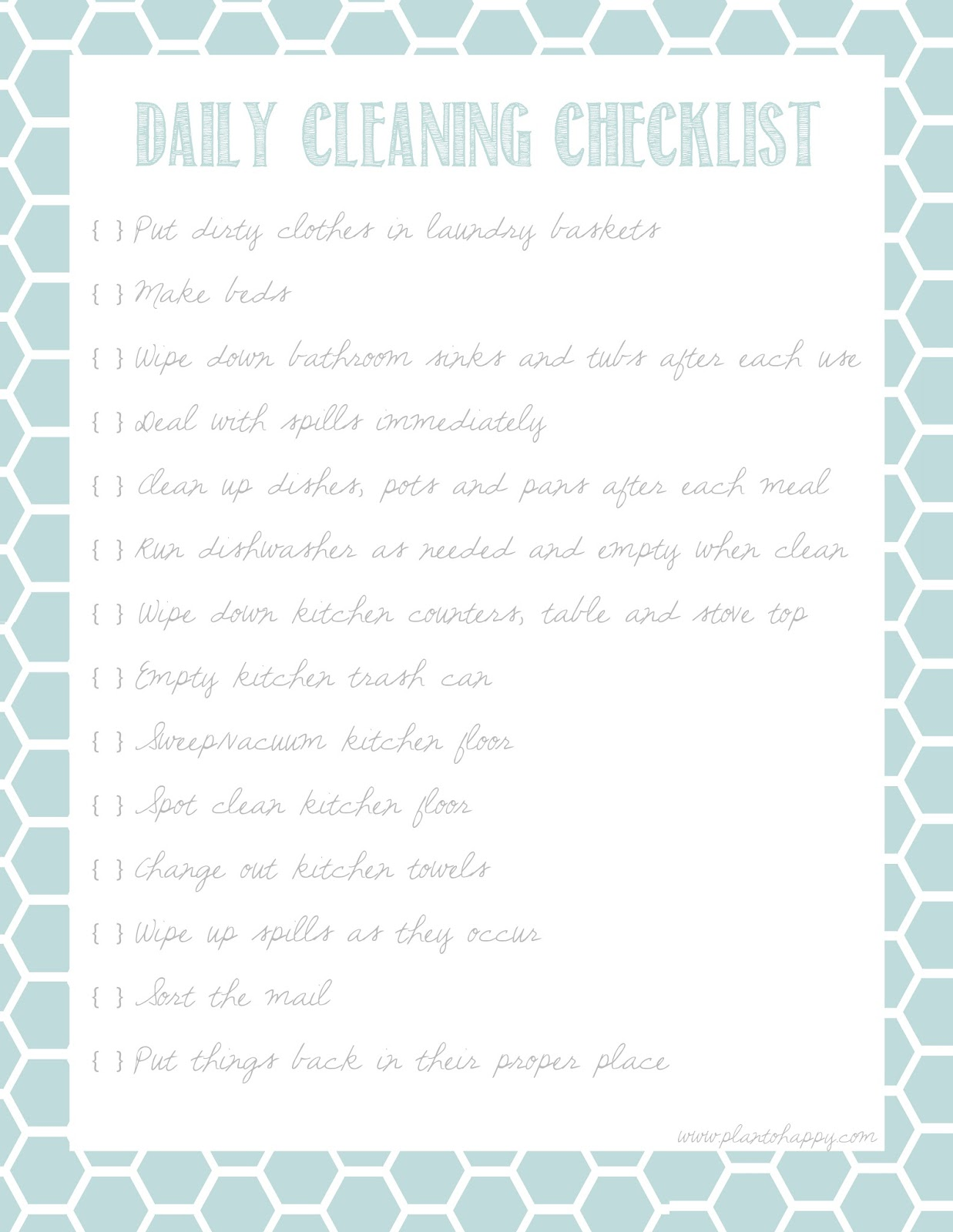 Plan To Happy 10 Great Cleaning Calendar Printables Plus