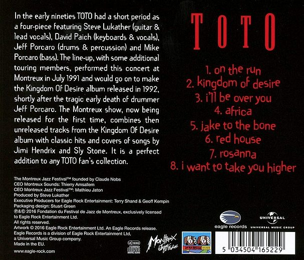 TOTO - Live At Montreux '91 (2016) back