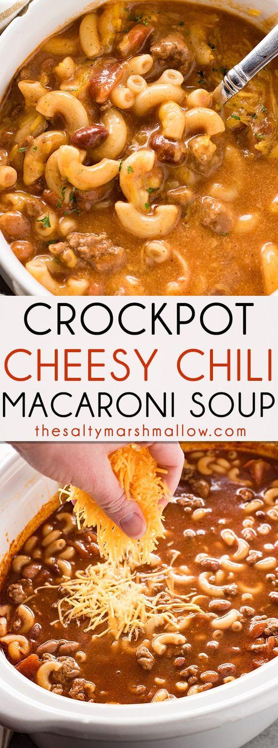 Crockpot Cheesy Chili Macaroni Soup