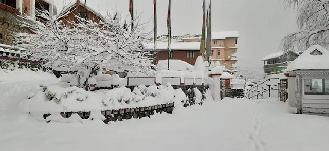 Snowfall in Sikkim Lachen
