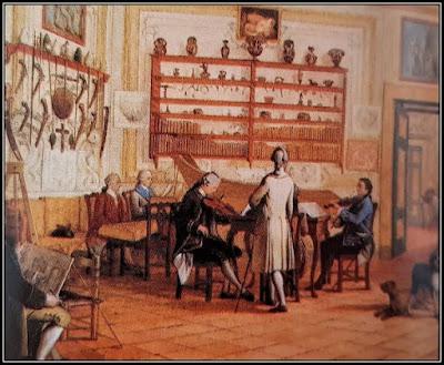 Πίνακας με κουαρτέτο μουσικής δωματίου σε αίθουσα υποδοχής