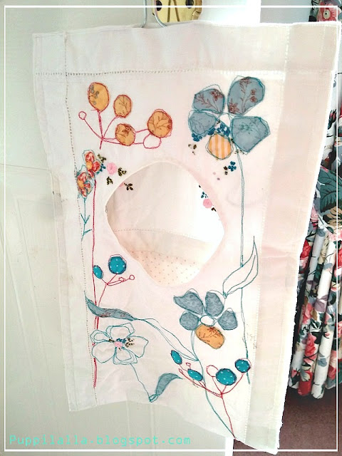 DIY, peg bag, flower applique, embroidery, up-cycling, Puppilalla