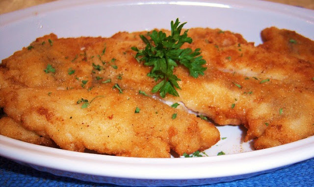 This is flounder a white fish that is thin fish that's flat like a doormat and delicious egg coated and fried to make this recipe Flounder Francese