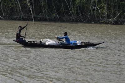 Two boatmen in a boat in the Sundarbans