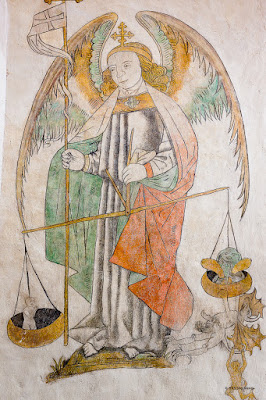 devil, cathedral, soul, mural, culture, saint, angel, editorial, scale, church, fresco, denmark, holy, religion, weigh, ancient, michael, archangel architecture, wall-painting, aarhus