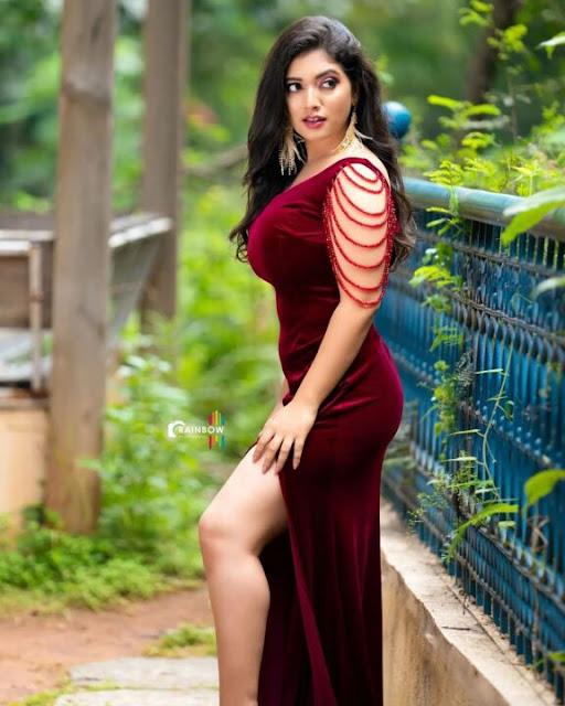 Actress Priyanka Thimmesh Latest Photo Stills in Maroon Dress Navel Queens