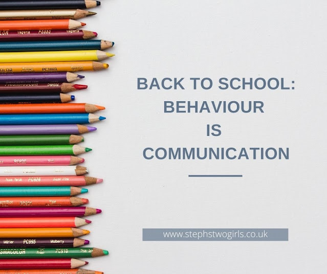 coloured pencils of all different lengths on left of image with text Back to school: behaviour is communication on the right