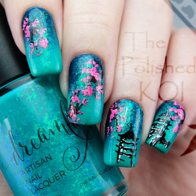Dreamland Lacquer Lazy River cherry blossom nail art