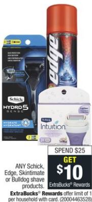 Schick, Edge, Skintimate, or Bulldog Shave Products
