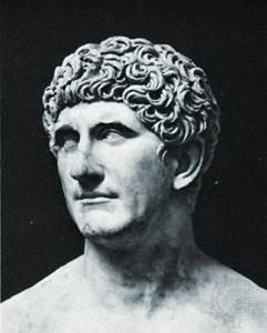 Marco Antonio, detalle de un busto de mármol; en los Museos Vaticanos, Ciudad del Vaticano