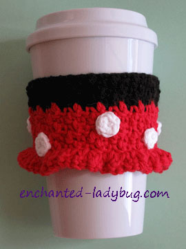 Free Crochet Minnie Mouse Coffee Cup Cozy Pattern