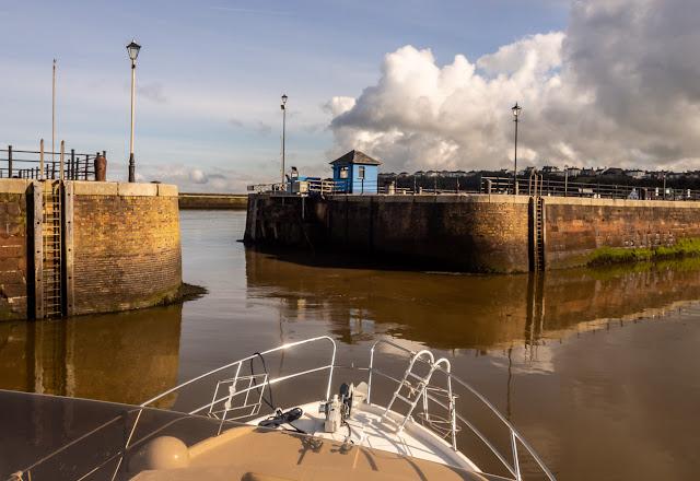 Photo of Ravensdale heading towards the marina gate on Monday
