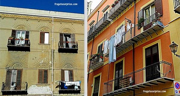 Fachadas no Centro Histórico de Palermo, Sicília