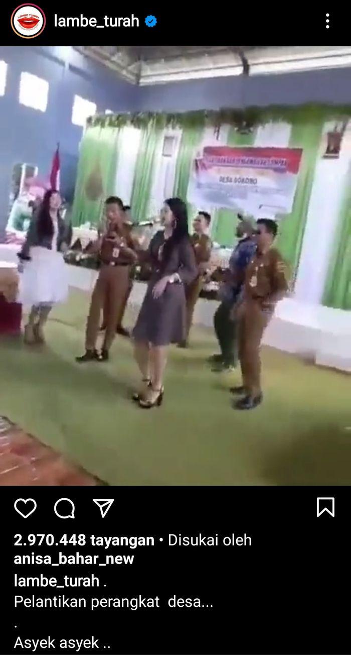 Video viral perangkat desa berjoget bersama biduan tanpa menggunakan masker. Tangkapan layar Instagram @lambe_turah