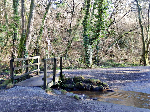 wooden bridge for walkers and ford for horses and cycles, Pentewan, Cornwall