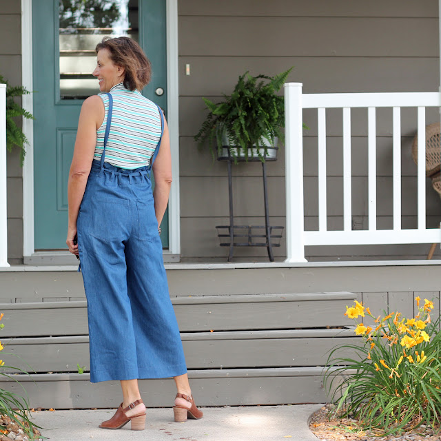 Sew House Seven's Burnside Bibs made from Style Maker Fabrics' Tencel Denim - back view with straps straight down from shoulders