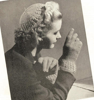 The Vintage Pattern Files: Free 1940's Knitting Pattern - Cute as a Wink - Hat and Gloves