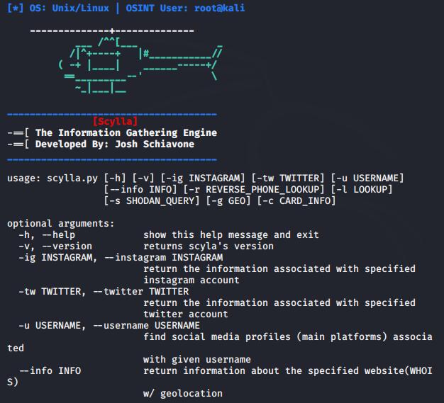 أداة Scylla لجلب المعلومات عن رقم الهاتف واسم المستخدم