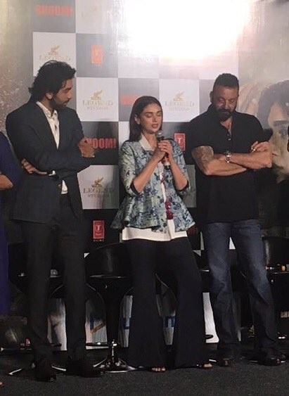 Sanjay Dutt, Ranbir Kapoor and Aditi Rao Hydari at Bhoomi Trailer Launch