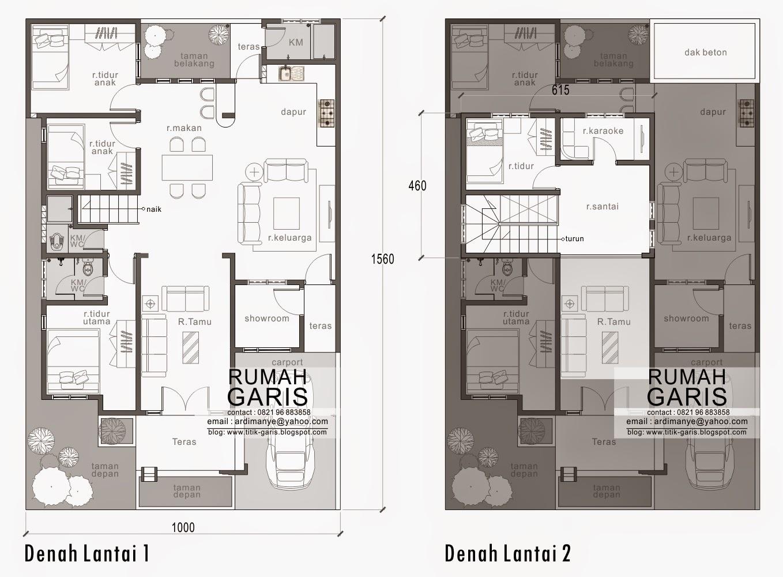 Desain Rumah Tinggal 2 Lantai Di Lahan 10x156 Meter Di
