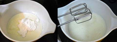 beating curd and sugar