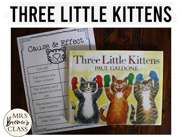 Three Little Kittens book study winter literacy unit with Common Core aligned companion activities and a craftivity for K-1